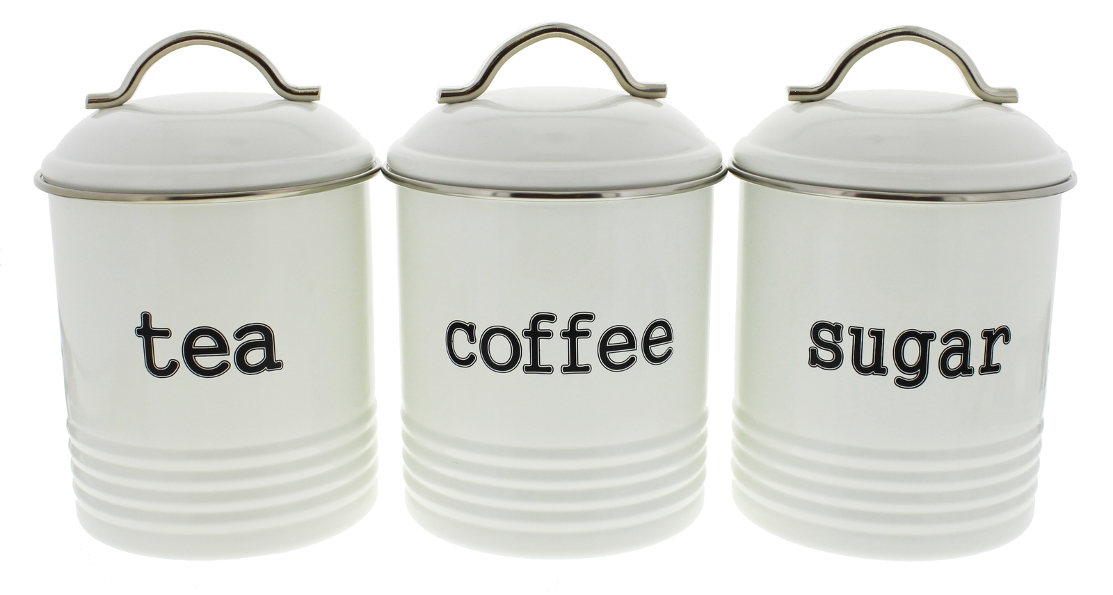 Tea/Sugar/Coffee Canisters 3 Set - White | at Mighty Ape NZ