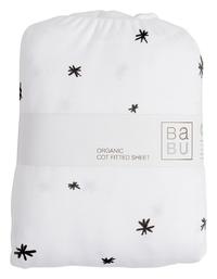 Babu: Organic Fitted Bottom Cotton Cot Sheet (Black Star)