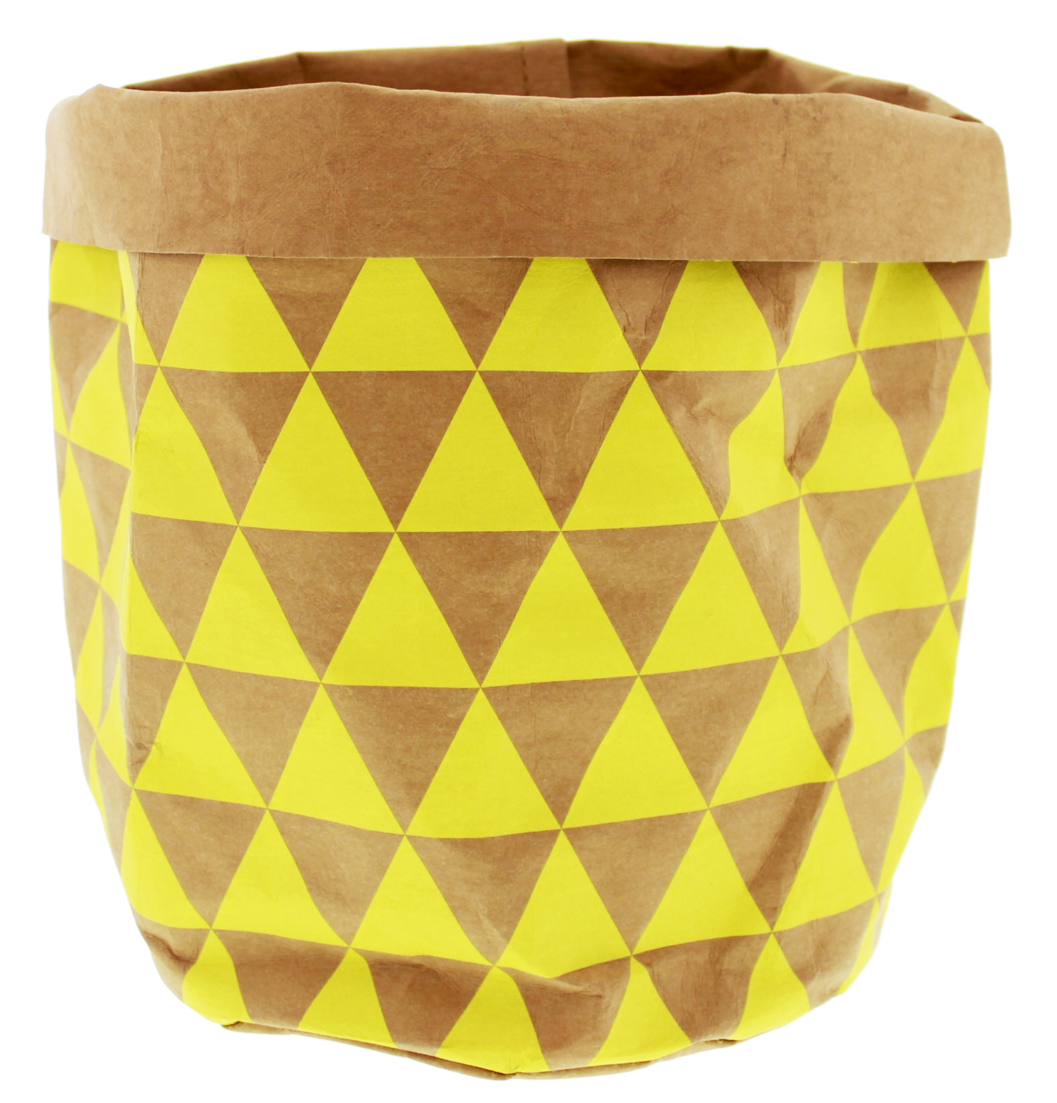 Paper bag yellow -  General Eclectic Triangles Washable Paper Bag Tan Yellow Image