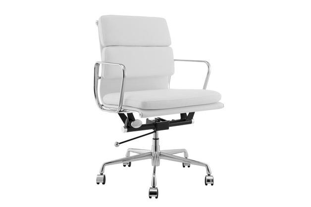 Matt Blatt: Replica Eames Group Standard Aluminium Padded Low Back Office Chair (White Leather)