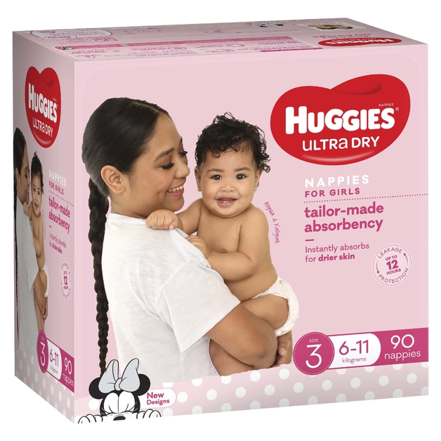 Huggies Ultra Dry Nappies Jumbo Pack - Size 3 Crawler Girl (90)