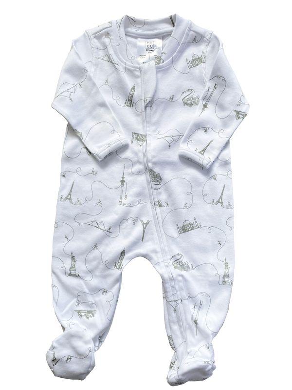 Babu: Organic Cotton All in One with Feet - Around the World Grey (6-12m)