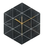 Present Time: Marble Hexagon Wall Clock - Black