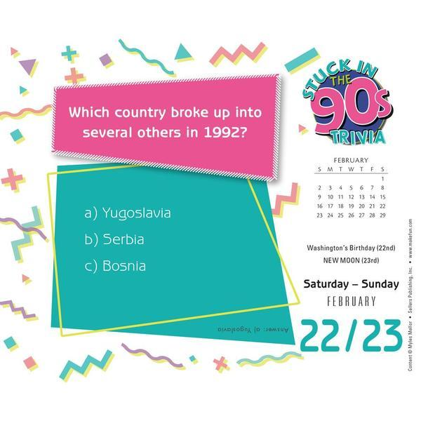 Stuck in the 90s Daily Trivia Challenge 2020 Boxed Calendar by Myles Mellor image