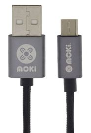 Moki Micro-USB SynCharge Cable - Black/Gun Metal 10cm
