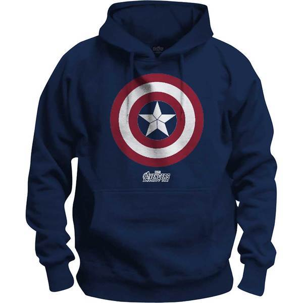 Avengers Infinity War Captain America Icon Pop Mens Navy Hoodie: Large