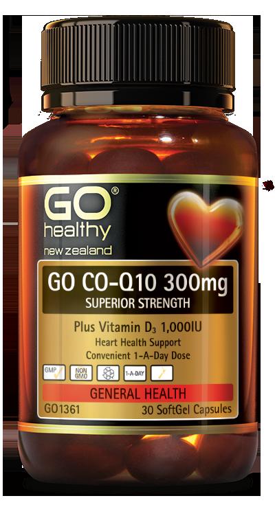Go Healthy: GO Co-Q10 300mg + Vit D (30 Capsules)