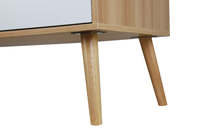 Wooden Coffee Table with Drawer - Natural & White