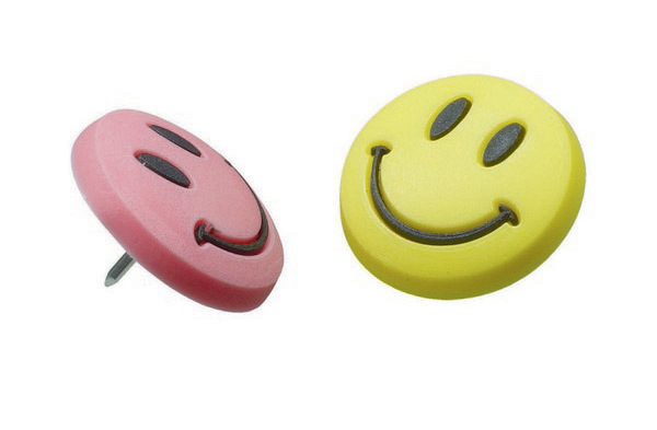 Esselte Novelty Smiley Pins - Assorted Colours (Pkt 8)