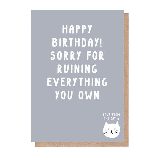 From the Cat: Sorry for Ruining Everything You Own Birthday Card