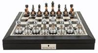 "Dal Rossi: Staunton Metal/Marble - 16"" Chess Set (PU Black)"