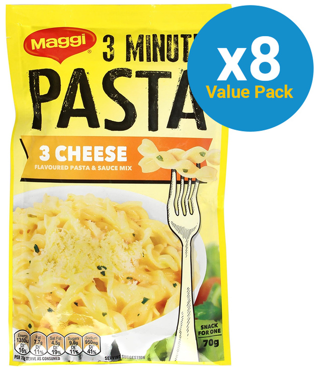 Maggi 3 Minute Three Cheese Pasta 70g (8 Packs)