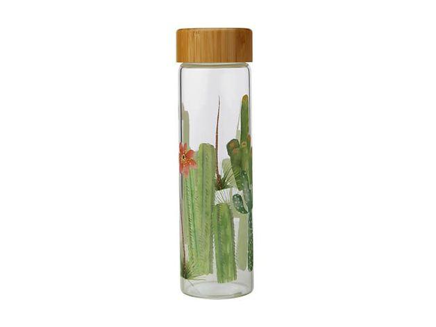 Maxwell & Williams: Royal Botanic Garden Arid Garden Glass Water Bottle - Saguaro (550ml)