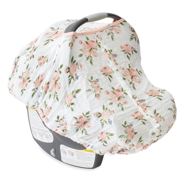 Little Unicorn: Muslin Car Seat Canopy - Watercolour Roses