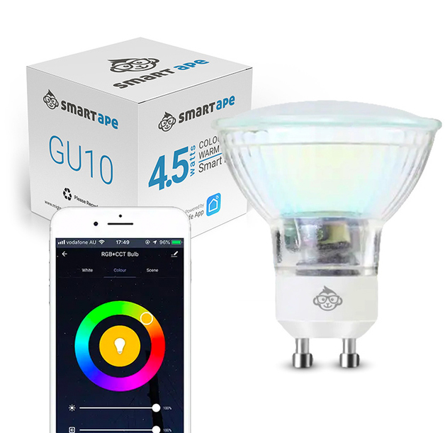Smart Ape: WiFi RGB & Warm White Smart LED Spotlight (GU10) - 1 Pack