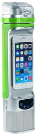 Next Bottle – Water Bottle With Charger And Speaker (Green & Silver)