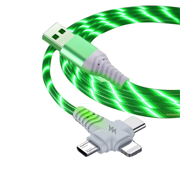 3-in-1 Illuminated Charging Cable - Green (1m)