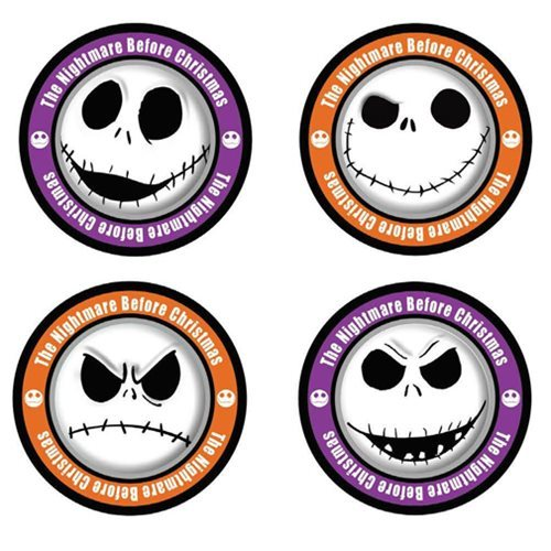the nightmare before christmas jack skellington faces coasters 4 pack