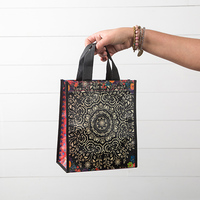 Natural Life: Recycled Gift Bag - Black Cream Mandala (Medium)