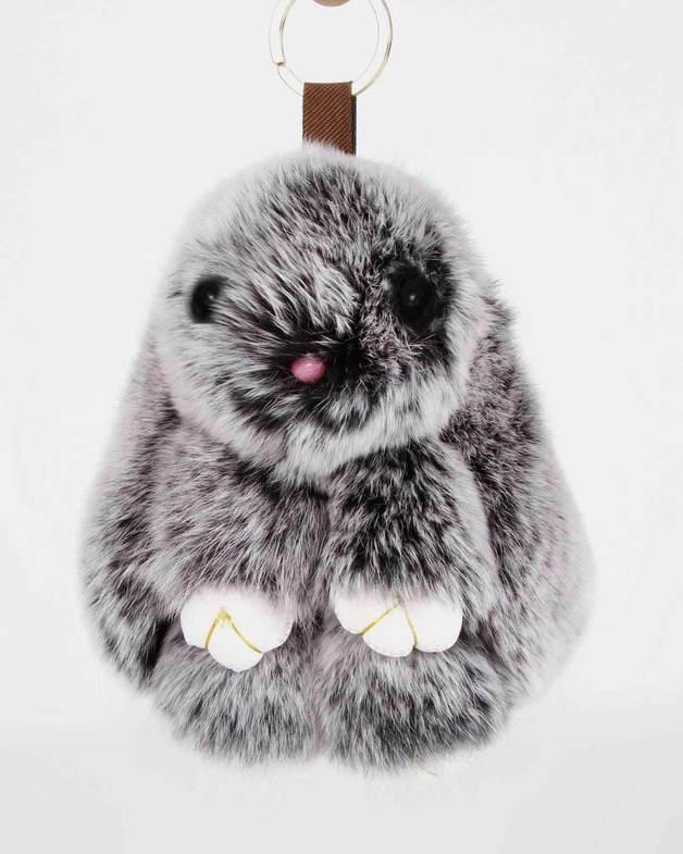 Belle and Bloom: Faux Fur Bunny Keychain - Salt & Pepper