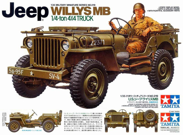 "Tamiya U.S. Willys MB ""Jeep"" 4x4 Truck 1/35 Model Kit"