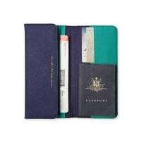Alice Pleasance Wonderland: Leather Travel Wallet - Navy & Emerald