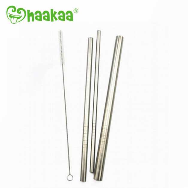 Haakaa: Stainless Steel Straw - Straight w/ Ridges - Large 12mm