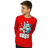 Minecraft Like a Boss Youth Long Sleeve T-Shirt - Red (Medium)