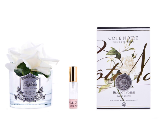 Cote Noire: Clear Single Rose Ivory, with Fragrance spray