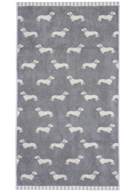 Emily Bond Hand Towel - Grey Dachshunds
