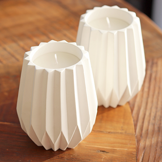 Old Mill Road: White Cement Candle - Concertina