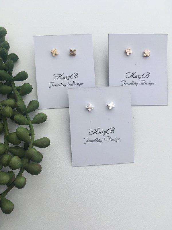 Katy B Jewellery: Mini Cross Earring - Silver