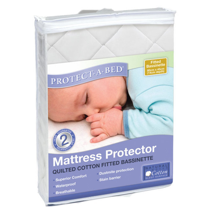 Cotton Quilted Fitted Bassinet Mattress Protector
