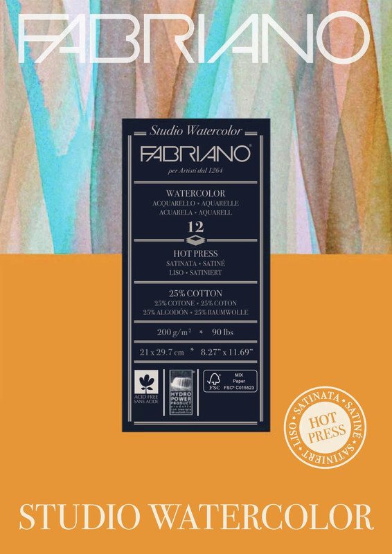 Fabriano: Studio Watercolour Pad 200gsm A4 Hot Pressed - 12 Sheets
