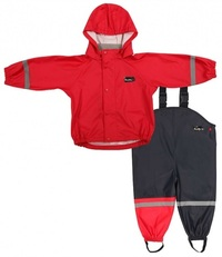 Mum 2 Mum Rain Wear Jacket and Overalls - Red (12 months)
