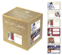 Adhesive Christmas Gift Labels - Gold (Pack of 80) image