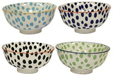 Assorted Colour Dotty Village Kiln Ceramic Bowls (Set of 4) - Small