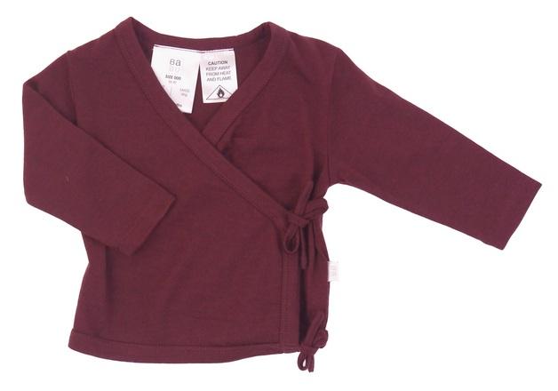 Babu: Merino Kimono Cardigan - Burgundy (0-3m)