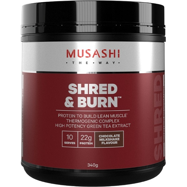 Musashi Shred & Burn Protein Powder - Chocolate Milkshake (340g) image