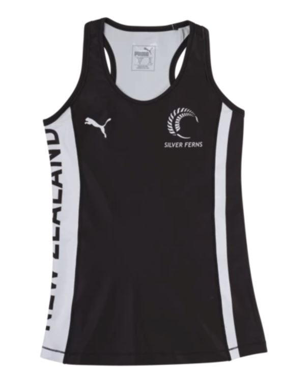 Puma Silver Ferns Youth Training Singlet Black/White (140)