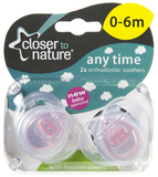 Closer to Nature Any Time Soother 0-6 Months (Pink) - 2 Pack