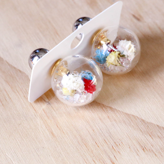Short Story: Fantasy Bubble Earrings - Flower Multi