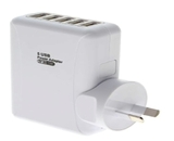 8ware 5 Port USB Wall Charger with Travel Adapter
