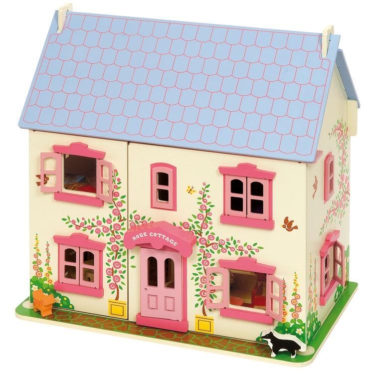 Bigjigs Wooden Rose Cottage   Furnished Dolls House Image ...