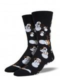 Mens Twisted Snowman Crew Socks - Black