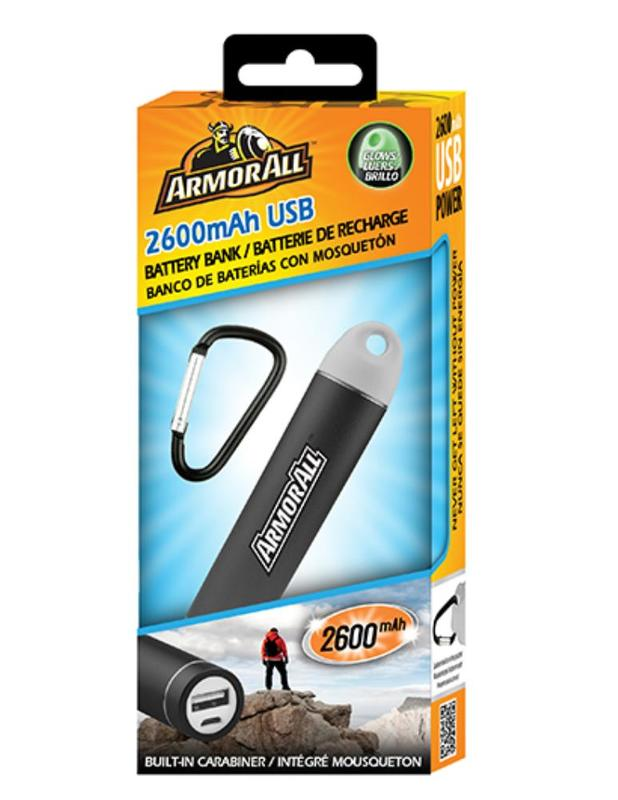 Armor All: 2600mAh USB Battery Bank w/ Carabiner Clip