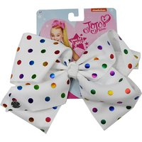 JoJo Siwa Small Polka Dot Large Bow - White with Coloured Dots
