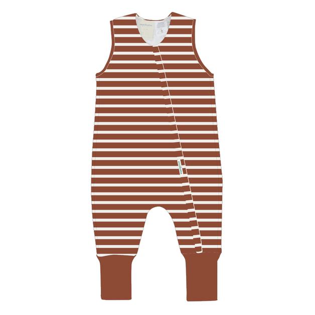 Woolbabe: Duvet Sleeping Suit Rust Stripe - 3 year