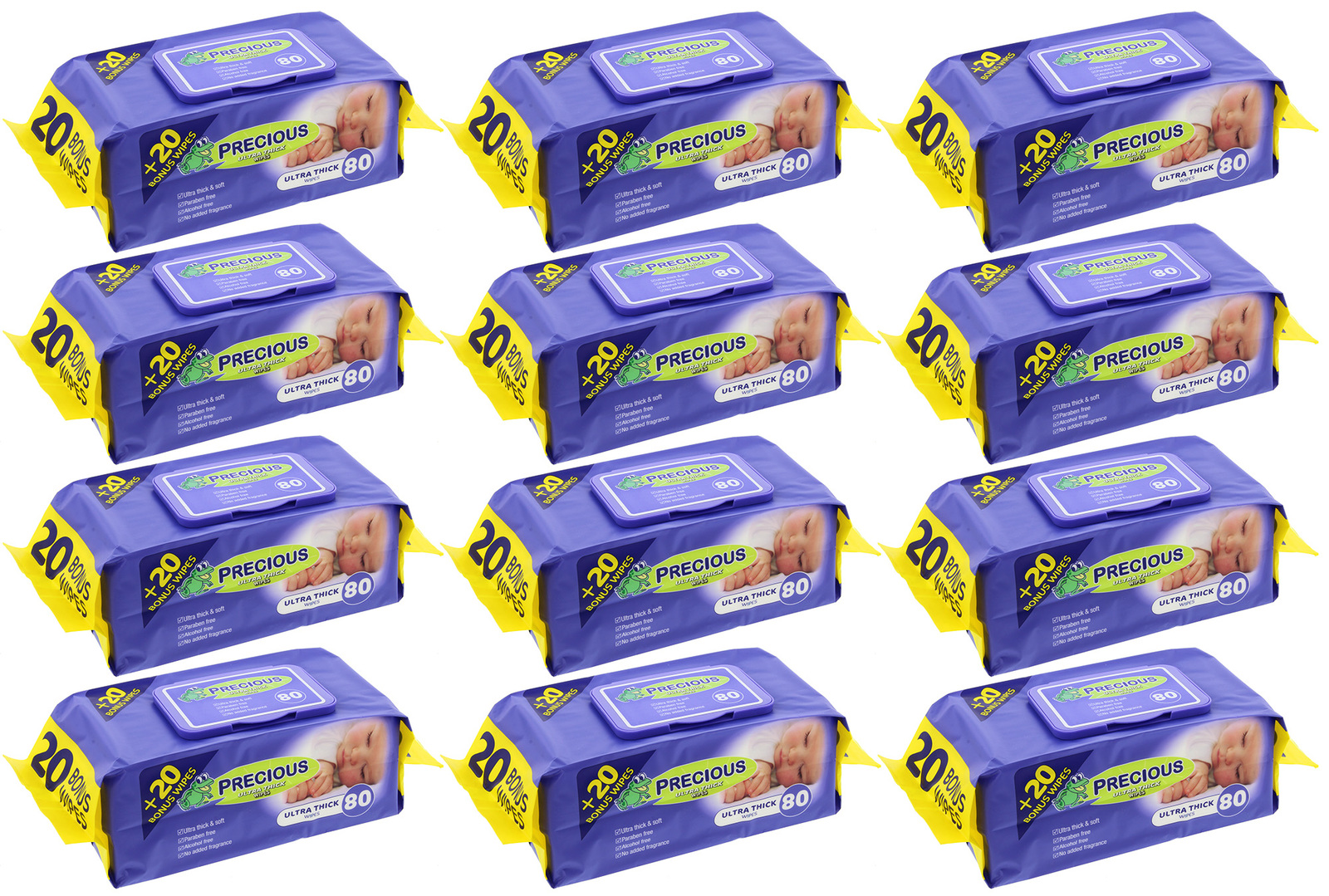 Precious - Ultra Thick Baby Wipes (80 Wipes,Carton 12) image