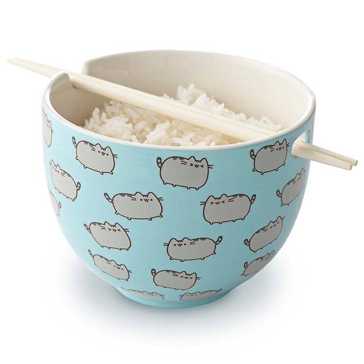 Pusheen the Cat Rice Bowl With Chopsticks image